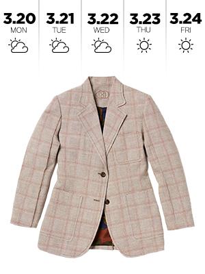 체크 재킷 한 벌로 예쁜 일주일