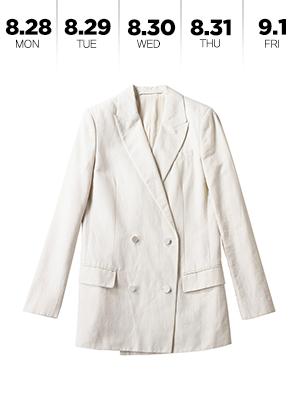 차분한 분위기를 내는 린넨 재킷
